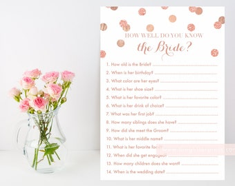 Rose Gold glitter confetti How well do you know the bride? printable game, bride game, blush and gold bridal shower, INSTANT DOWNLOAD 005