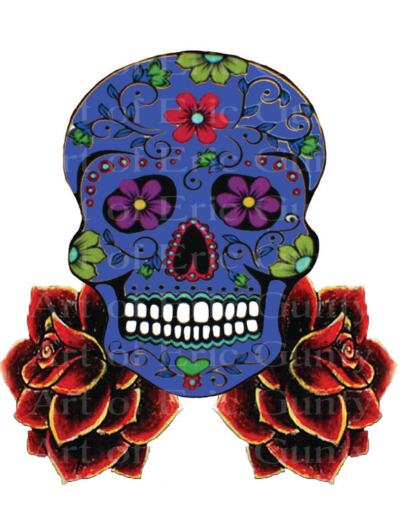 Blue Sugar Skull & Roses Halloween Birthday - Edible Cake and Cupcake Topper For Birthday's and Parties! - D22654