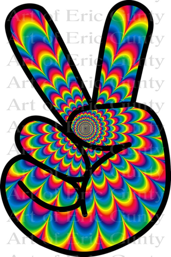 Rainbow Peace Sign Birthday - Edible Cake and Cupcake Topper For Birthday's and Parties! - D22960