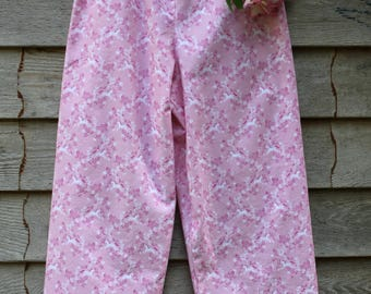 Unicorn Pajama Bottoms, Girls Sleepwear,  Pink Cotton Pant, Loungewear, Size 8, Gift for Girls