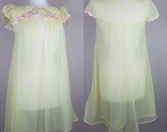 1980s lingerie baby doll nightie yellow sheer