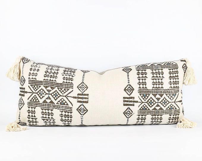 African Tribal Linen And Tassel Lumbar Pillow Cover 12x28