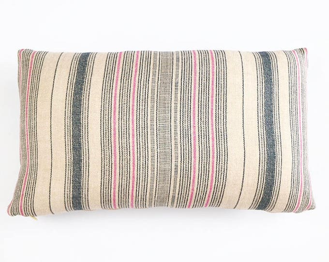 READY TO SHIP Indigo And Pink Stripe Belgian Linen Lumbar Pillow Cover 12x20