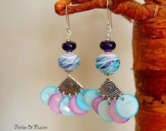 Glass Lampwork earrings * dance * water/purple green - handcrafted silver dangle glass Pearl hooks murano glass earrings