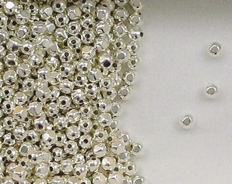 Sterling Silver 3mm Faceted Round Beads, Choice of Lot Size Price