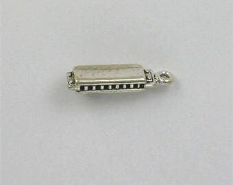 Sterling Silver 3-D Harmonica or Mouth Organ Charm