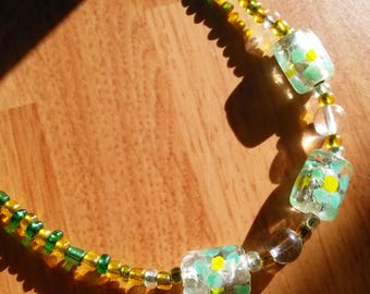 Green and Yellow Flower Necklace