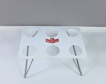 "Vintage ""Robinson"" metal holder for 6 ice cream cone - retro white ice cream cone stand"