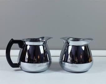 Vintage Sunbeam cream and sugar set chrome and bakelite handle - Mid century vintage Sunbeam chrome creamer & sugar bowl