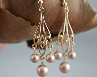 Bridesmaid Chandelier Earrings Swarovski Champagne Pearls Gold Earrings Bridal Party Gift Wedding