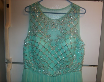 Vintage Women's Clothing,  Dress Evening Gown, Floor Length, Beaded Sheer Top, Label Glow, Size 16, Turquoise, WAS 80.00 - 40% = 48.00