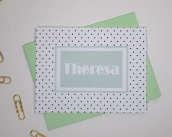 Personalized Stationery Set/Personalized Note Cards/Personalized NoteCards/Polka Dot Stationary/Paperienco/Personalized Stationary Set of 12