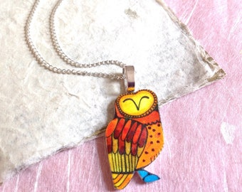 Owl Necklace, Wise Owl Totem Pendant, Graduation Gift, Shrink Plastic Jewellery, Owl Gifts, Illustrated Bird Jewelry, Teacher Thank You.
