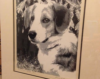 "Vintage Signed/Numbered Serigraph Silkscreen Print – ""Portrait of a Beagle"" – by James H. Wennersten – Matted, Backed w/Foam Board"