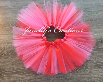 Valentine's Day tutu, shocking pink and red tutu, double layered tutu, kids tutu, baby tutu, newborn tutu, birthday tutu, preemie tutu