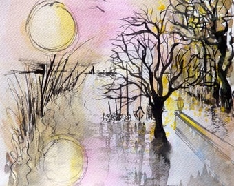 The guardian - landscape watercolor and India ink on paper 25 x 25 cm - pink yellow black white