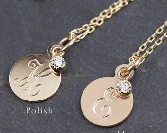 14k gold personalized initial 9.4mm disc pendant,diamond charm,black diamond, sapphire, emerald, ruby charm,monogram necklace, per-n102