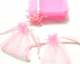 50 Pink Organza Bags, Candy Drawstring Bags, Wedding Favor Bags, Sheer Tea Bags, Jewelry Bags, Gift Bags, Boutique Supplies, Party Bags