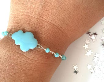 Enameled cloud bracelet and brass rosary chain