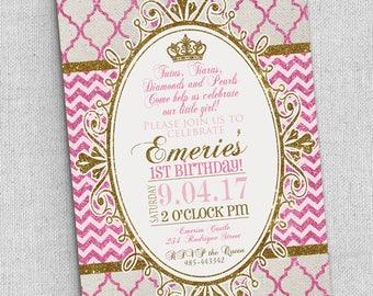 Princess invitation customized FAST, Royal princess party invitation, pink gold first birthday invitation, any age, gold glitter invitations