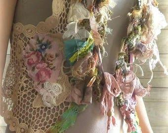 RESERVED for H  Pink Sunshine Shabby mori Lace fiber textile art Cardigan vest Jacket Shrug Sweater Top Embellish crochet ruffle bolero SM