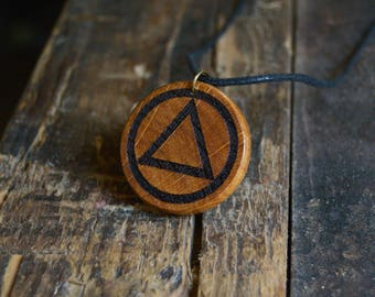 Eminem Gift For Recovery Alcoholics Anonymous Handmade Pendant Medallion From Solid Oak Wood.