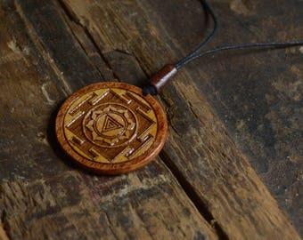 Gift Kali Yantra Sacred Geometric Pendant Amulet. Handmade Spiritual Wooden Necklace.