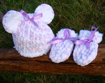 Snuggle Me Teddy Hat & Mittens - 0 to 3 months
