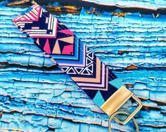 Fabric Keychain wristlet - Key Fob Chain - Key Chain Lanyard- Key Holder - Key Ring - Aztec Key Chain Key Ring - Gift for Her -Gift under 10