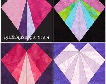 15 Inch Heart Set 1 Block Set of 4 Paper Piece Template Quilting Block Patterns PDF