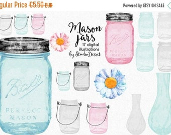 SUMMER SALE - 55% OFF Mason Jars Cliparts, Watercolor Jars, Vases Clip Art, Daisy Clipart,  Glass Jar Graphics for Personal and Commercial U