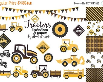 80% OFF - LIMITED TIME - Tractor Clipart, Tractor Digital Papers , Yellow TractorElements for Card Making, Scrapbooking Supplies C272