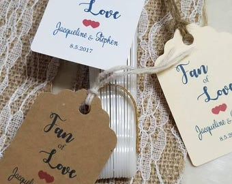 """Personalized Favor Tags 2.5Lx1.8w"""", Wedding tags, Love, Thank You tags, Favor tags, fan tag, fan favor"""