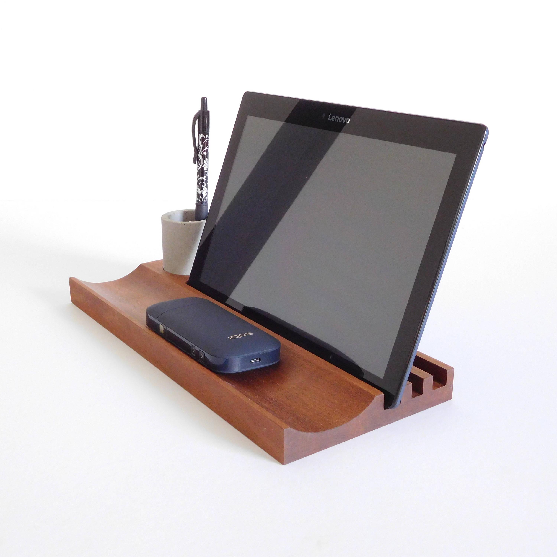 bureau bois organisateur t l phone portable support de pot. Black Bedroom Furniture Sets. Home Design Ideas