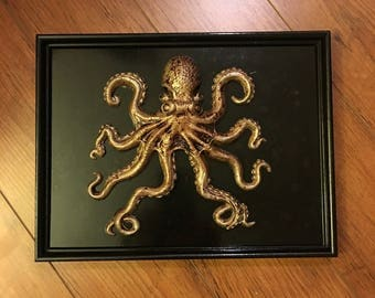 Octopus Sculpture in Frame