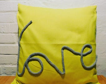 Love cushion cover, yellow cushion cover, valentines gift, yellow and grey cushion cover