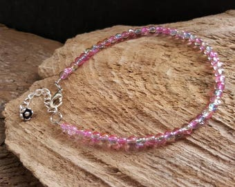 Pink & Blue Beaded Ankle Bracelet, Adjustable Anklet, Flower Charm Anklet, Bohemian Summer Jewelry