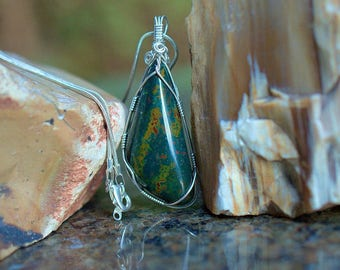 Natural Blood stone free form pendant silver wire wrapped with silver plated necklace