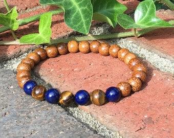 mens bracelet tiger eye bracelet blue river stone bracelet gift for him beaded stretch bracelet Lavish Lucy Designs wood mala mens mala