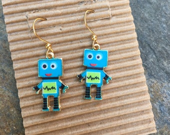 robot earrings robots colorful fun earrings gold earrings gift for her dangle earrings Sci-fi earrings techie geeky earrings robots
