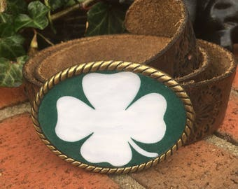 four leaf clover belt buckle mens belt buckle ladies belt buckle shamrock belt buckle antiqued brass lucky St. Patrick's day belt buckle