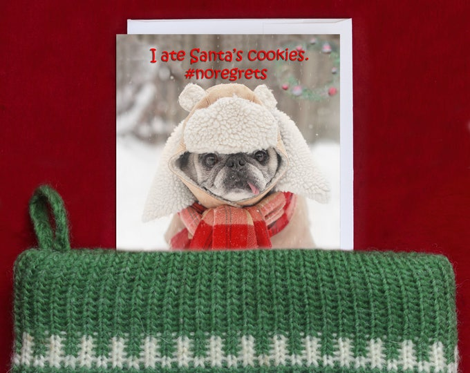 Pug Magnet - I Ate Santa's Cookies - 4x6 Pug magnet - by Pugs and Kisses