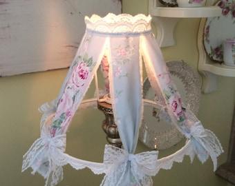 RA Blue w/ Pink Rose fabric Shabby Lampshade