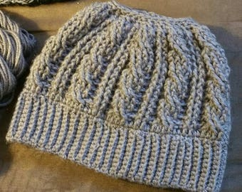 Cable messy bun hat