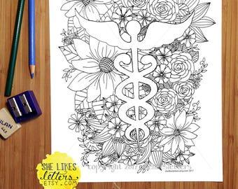 Nurse Coloring Page Medical Floral Decor Adult Digital Download Printable Color Grown Up RN