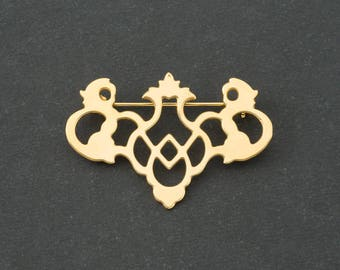 Vintage Bat Wing Drawer Pull Brooch  Gold Tone