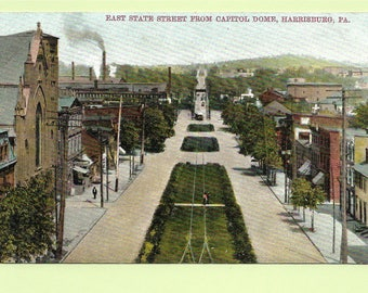 Vintage Postcard - Busy East State Street From Capitol Dome in Harrisburg, Pennsylvania  (2765)