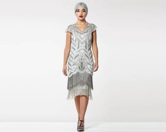 US18 UK22 AUS22 EU50 Plus size Vegas Grey Silver Flapper Dress Slip Included 1920s Great Gatsby Fringe Charleston Bridal Bridesmaid Wedding
