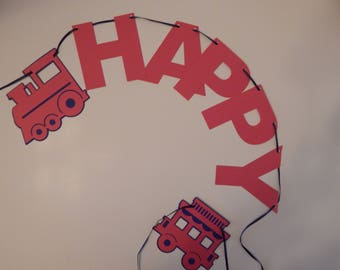 Red and blue train Happy Birthday banner, boys birthday, first birthday