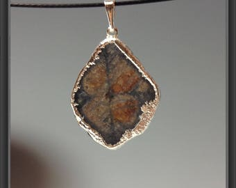 Silver plated Chiastolite pendant
